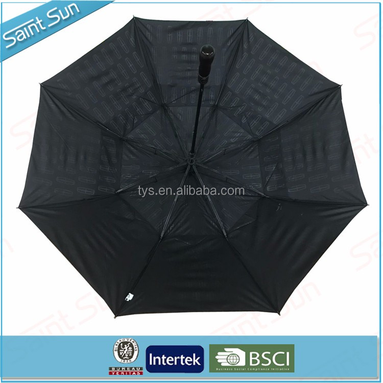 Large Outdoor Vented Double Canopy Wooden Handle 2 Fold Golf Umbrella