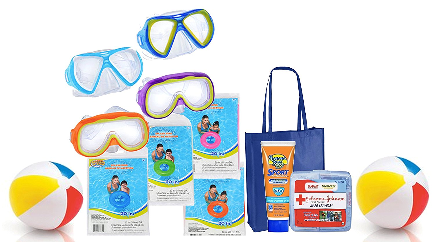 "Summer Pool Party Ready! Splash-N-Swim 10pc Pool Toy Assortment! Swim Masks Goggles, Inflatable Swim Rings & Beach Balls! Plus Bonus ""Safety First"" Summer Essentials Pack!"