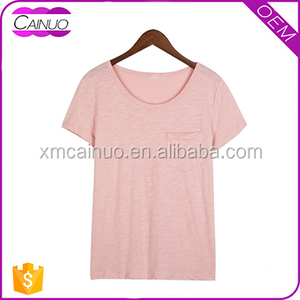 Custom Top Fahsion Girl T shirt Printed Designs With Pocket T shirt