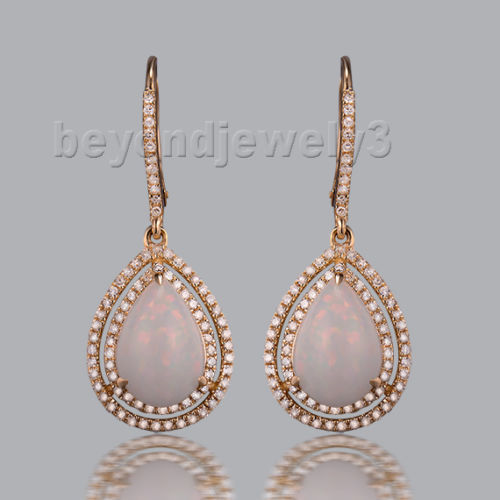 New White Opal Pear Cut 8x11mm In Solid 14k Rose Gold Engagement Drop Earrings For