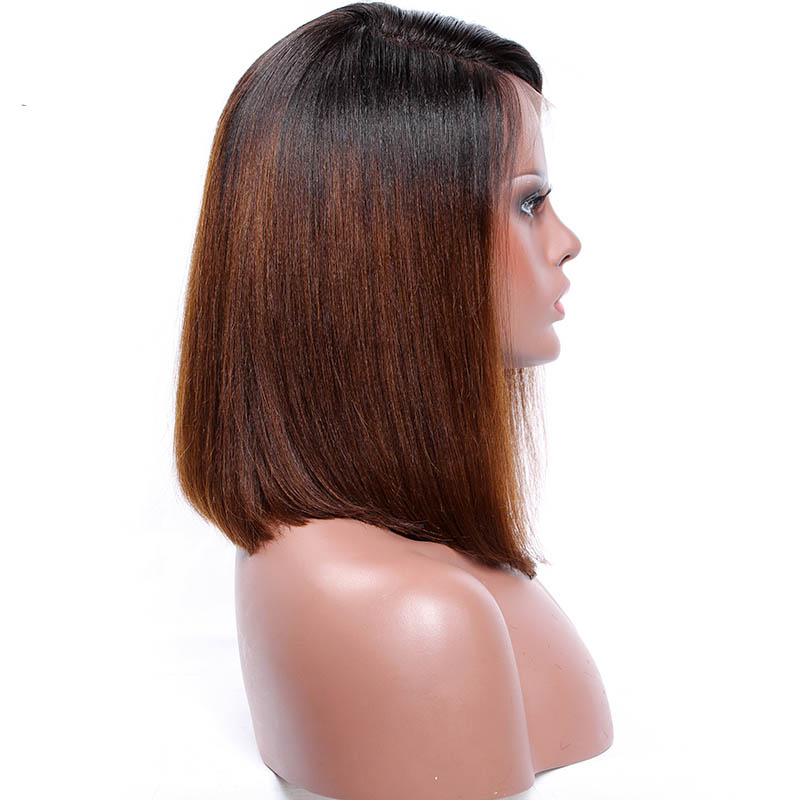 Free Shipping BEST Selling Top Quality Kiitanaxo's Brown Ombre Bob Style Lace Front Wigs Ombre Wig Human Hair