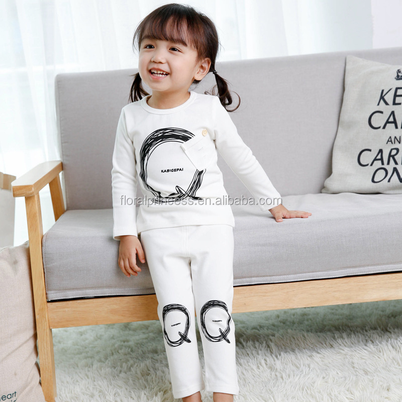 2017 Kids Clothing Autumn Leisure Wear Outfit Soft Cotton T-shirt+Pants 2pcs Kids Cartoon Home Pajamas Clothes