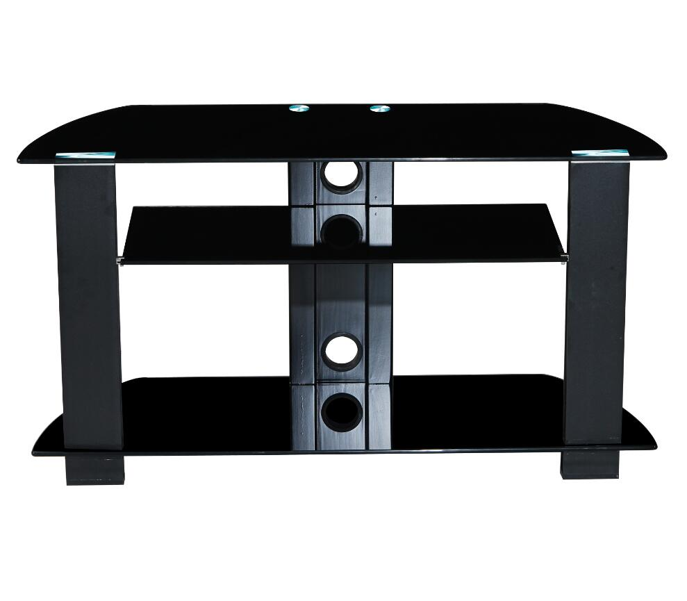 3 Layer Black Tempered Glass Tv Stand With Low Price High Quality Tv