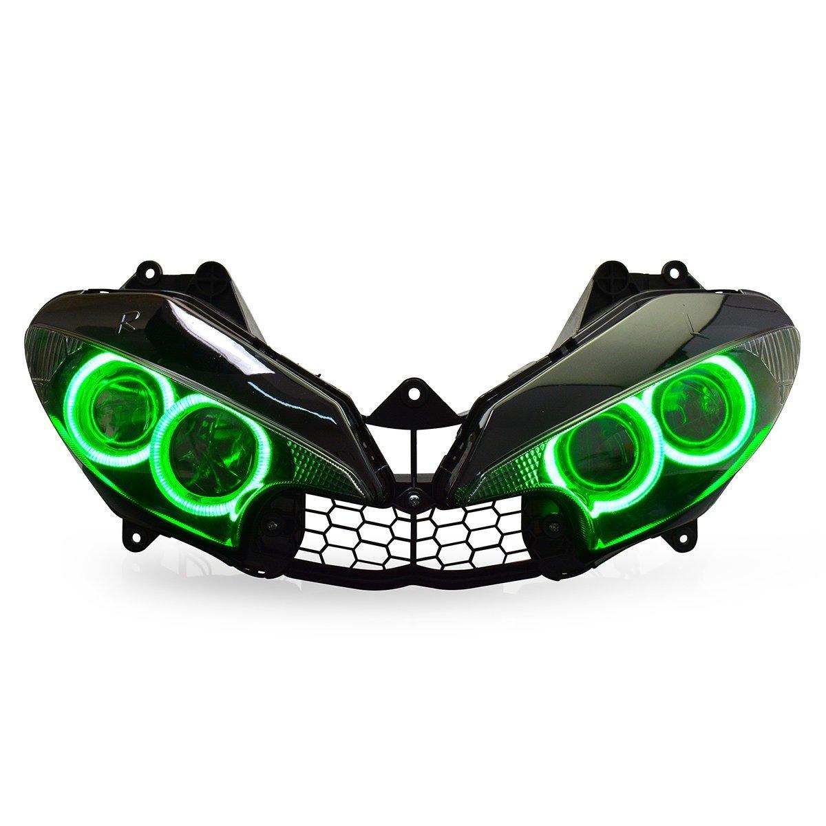 KT LED Headlight Assembly for Yamaha R6 2003 2004 2005 Green Angel Eye
