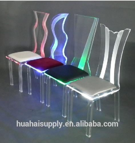 New design of acrylic LED dining chair with cushion