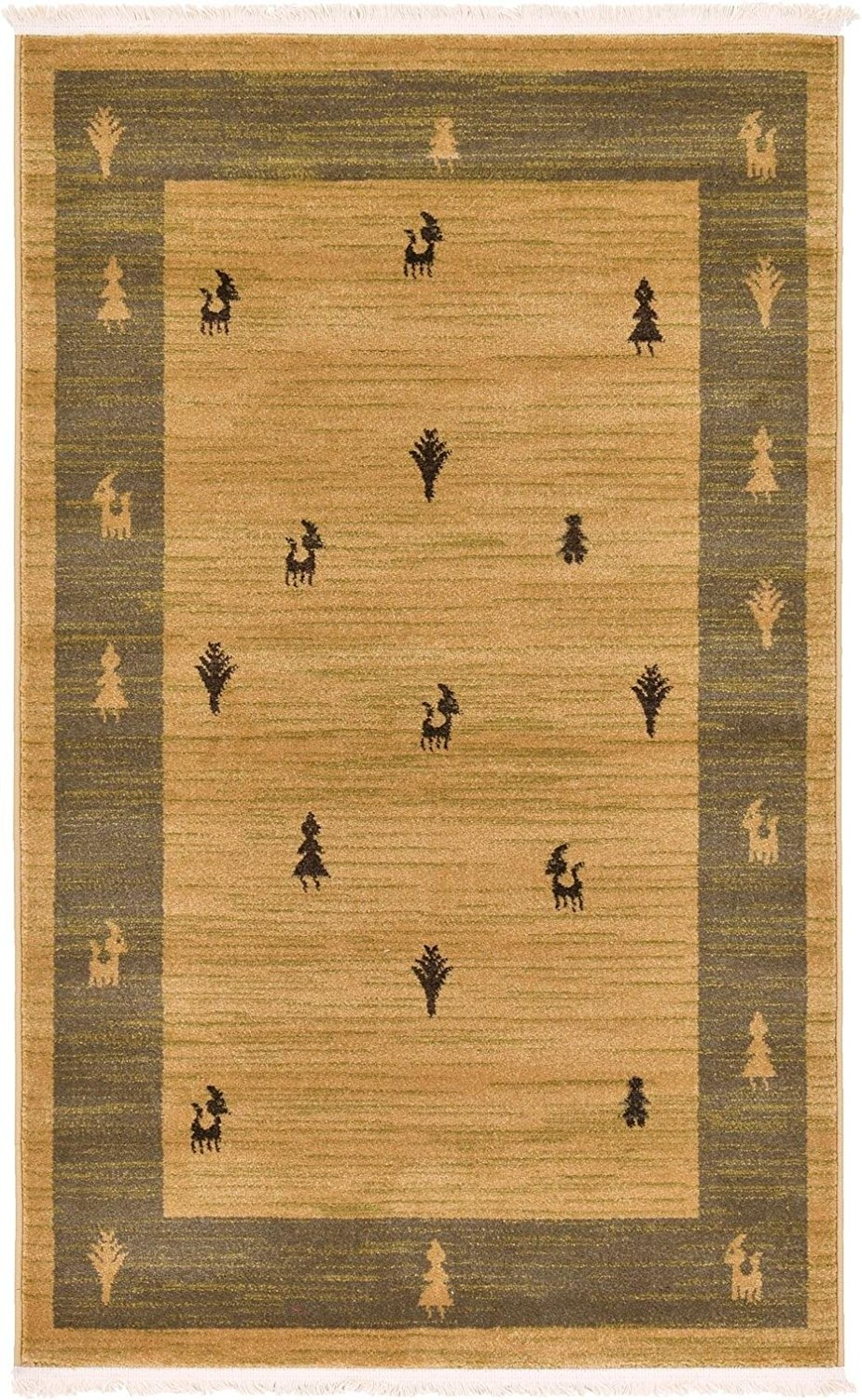 A2Z Rug 3.2-Feed-by-5.2-Feed Gabbeh Collection Area Rug - Tan Modern & Traditional rugs for living room - rugs for dining room & bedroom - Floor Carpet