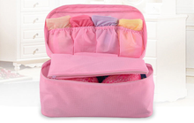 Newest Korea Style Pink Nylon Travel Bag Organizer For Holding Underware And Bra for women