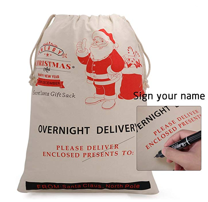Wholesale new design Santa sacks popular gift sublimation cotton drawstring canvas christmas bag