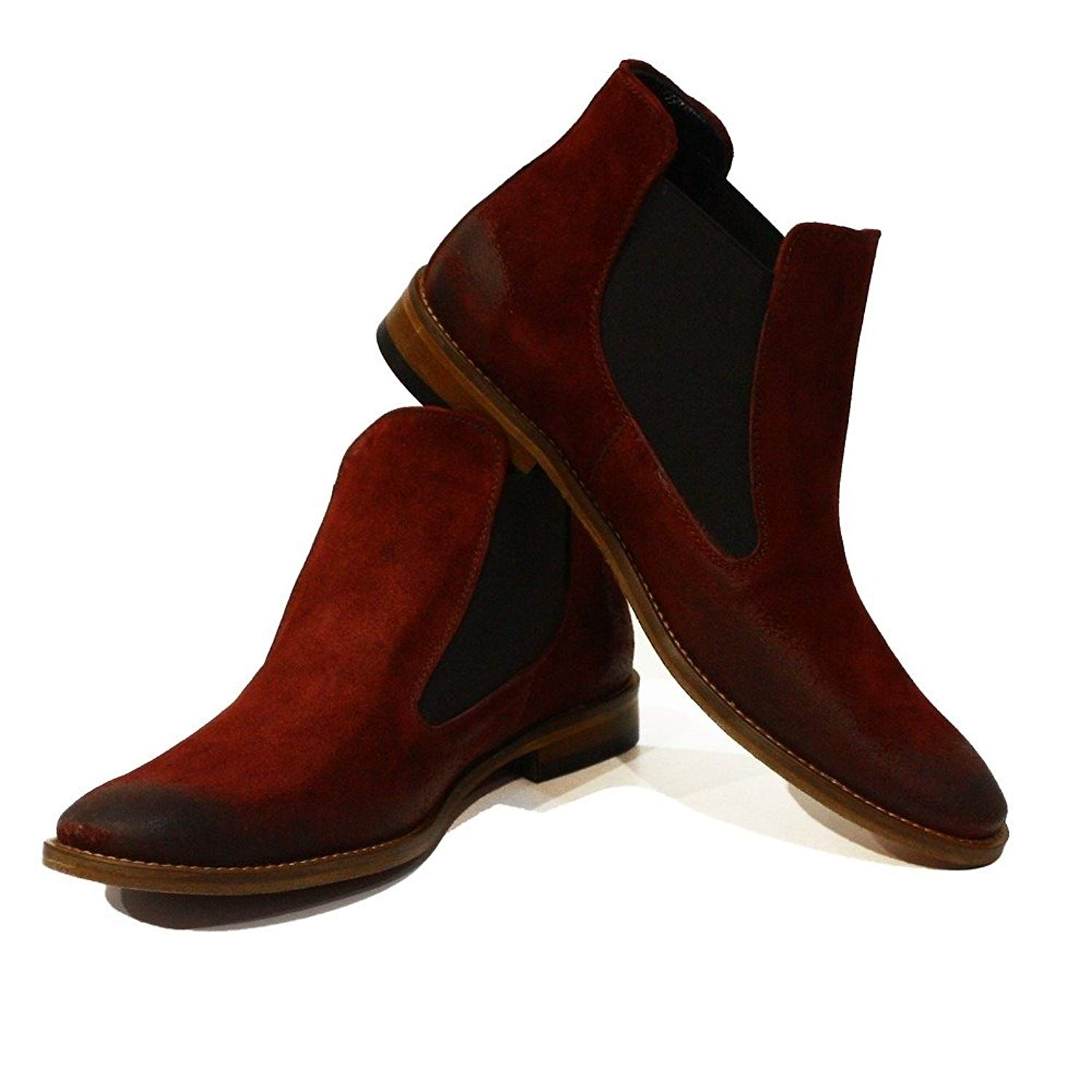 PeppeShoes Modello Costantino - Handmade Italian Mens Red Ankle Chelsea Boots - Cowhide Suede - Slip-On