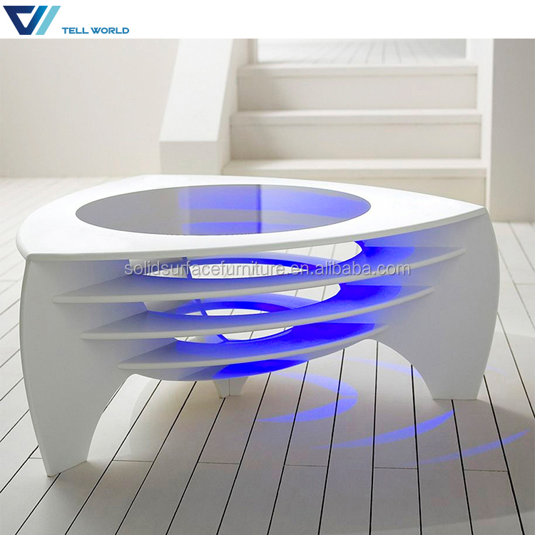 Fanbulous Led Blue Lighted Gl Top White Coffee Table Living Room Center