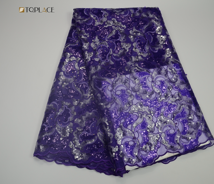 high quality lace with sequin Nigerian lace 2018 purple organza lace for garment