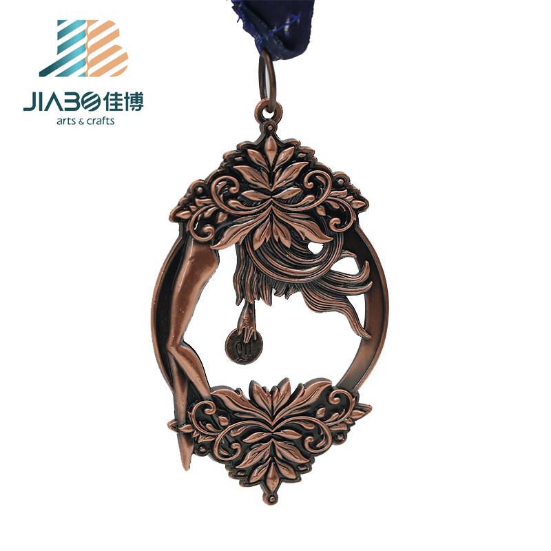New design custom made oco desafio prêmio medalha de metal com fita
