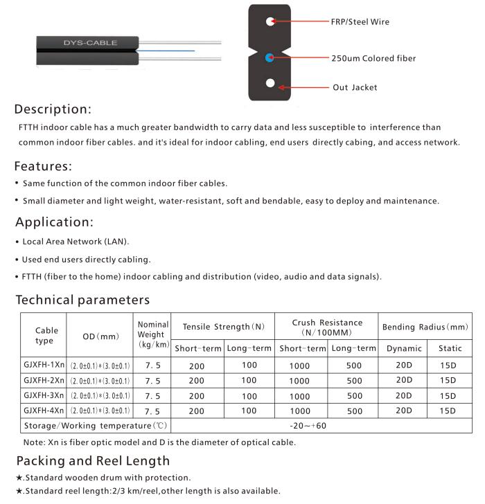 1,2,4 cores singlemode G657A FTTH fiber optic Flat drop cable