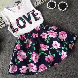 Deal Girls Love Letters Printed Sleeveless Vest Floral Skirt Set Clothes girls clothes sets 2pcs princess dress summer 2017
