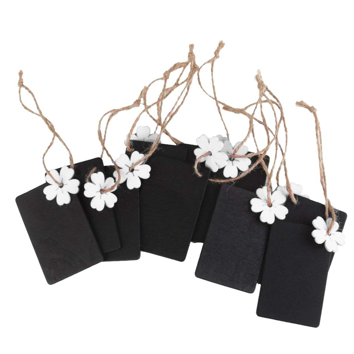ULTNICE 10pcs Mini Chalkboard Hanging Blackboard Wood Gift Tags Favor Tags with Twine and White Flower
