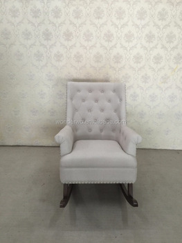 French Style White Fabric Wingback Wooden Glider Chair Upholstered Rocking  Chair And Ottoman