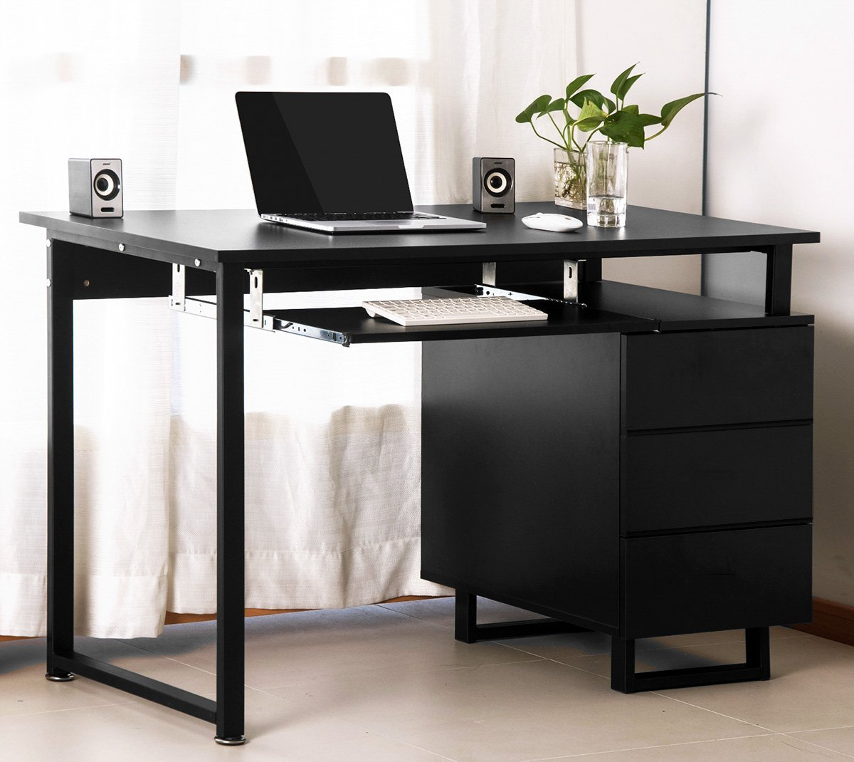Merax Modern Simple Design Computer Desk Table Workstation with Cabinet and Drawers for Home & Office (Black and Espresso)