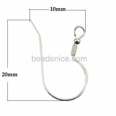 Beadsnice 25411 findings Solid 925 Sterling silver hook earring ear wires, 12X8X1mm accessories for jewelry