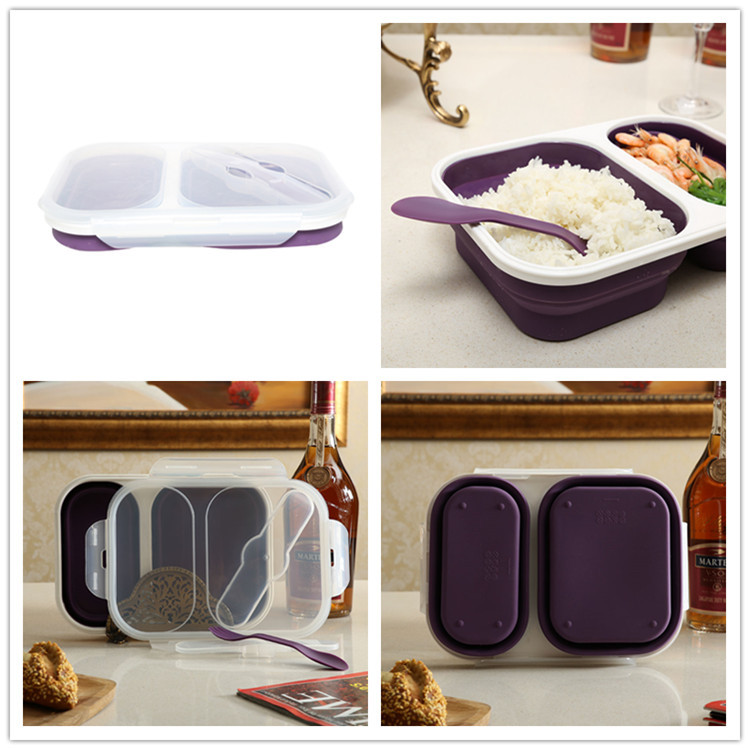 Collapsible silicone bpa free silicone material microwave safe lunch box