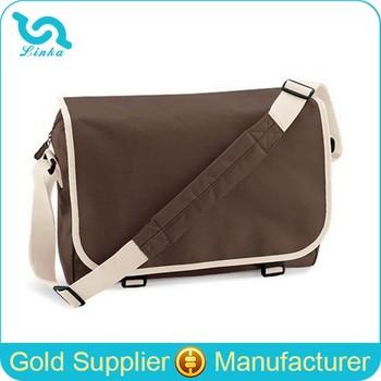 Custom Brown 600d Polyester Cheap Messenger Bag Adjustable ...
