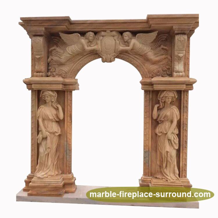 Alta calidad de mano de mármol tallado arco dama Ángel estatua ...