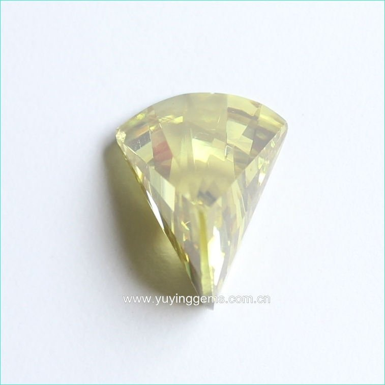 Light Yellow Axe Shape Cubic Zirconia Gemstones
