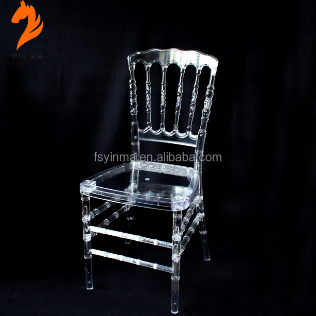 Low price used rental clear resin napoleon chair