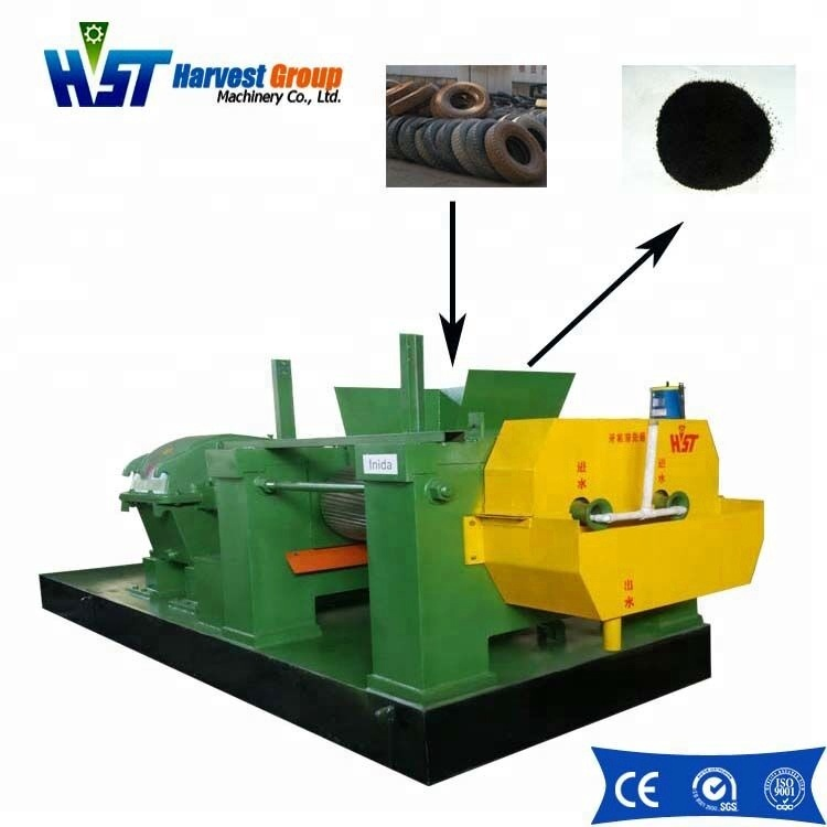 Waste tire recycling system/ rubber tire recycling machine