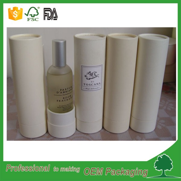 supplier customized white cosmetic paper tube packaging cardboard for 100ml oil bottle packaging with rolled adge for sale