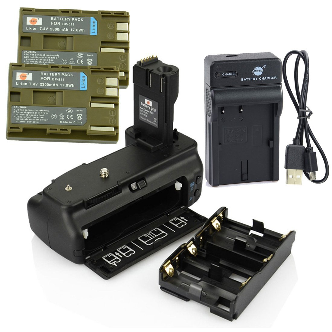 DSTE BG-E2N Battery Grip + 2x BP-511 Battery + USB Charger for Canon EOS 20D 30D 40D 50D