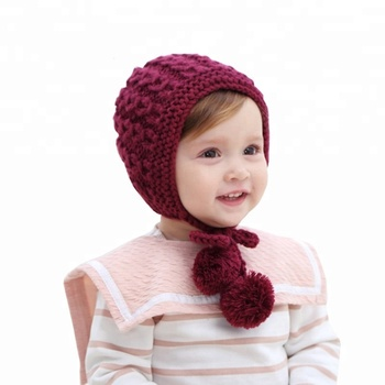 Lovely Baby Girls Hat Bonnet Autumn Winter Handmade Knitting Crochet