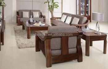 North American Black Walnut Wood Sofa Set High End Solid Comfortable Fabric
