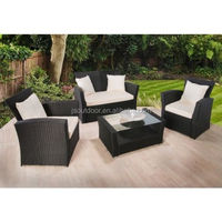 Rattan Outdoor Garden 3 PCS Sofa with Coffee Table Set Furniture