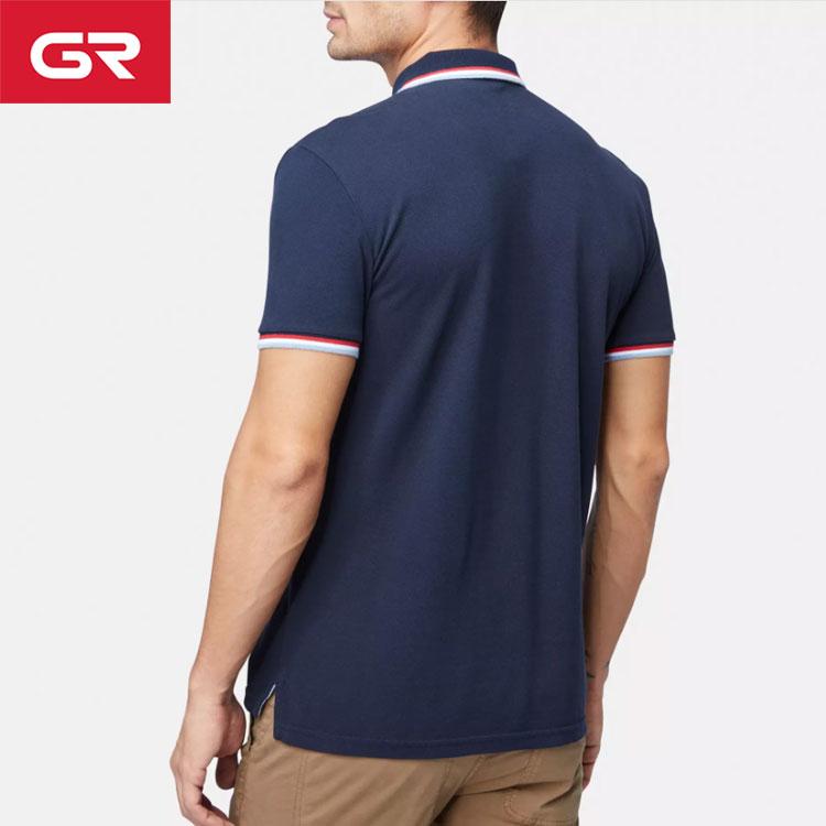 High Quality 100% Cotton Logo Embroidered Custom Ribbing Collar Man Polo T Shirt