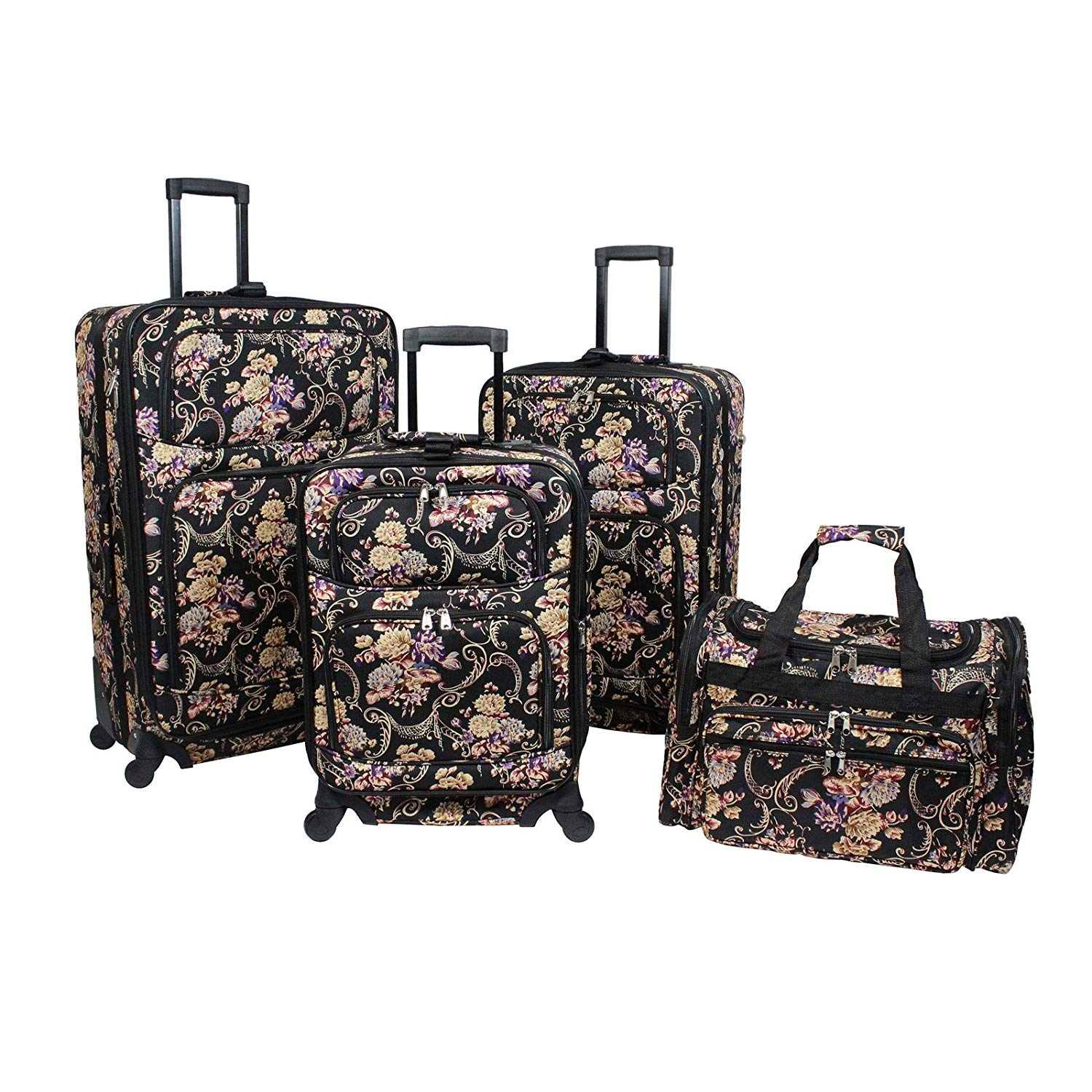 4f5f30fd5 Get Quotations · World Traveler Classic Floral 4-Piece Rolling Expandable  Spinner Luggage Set