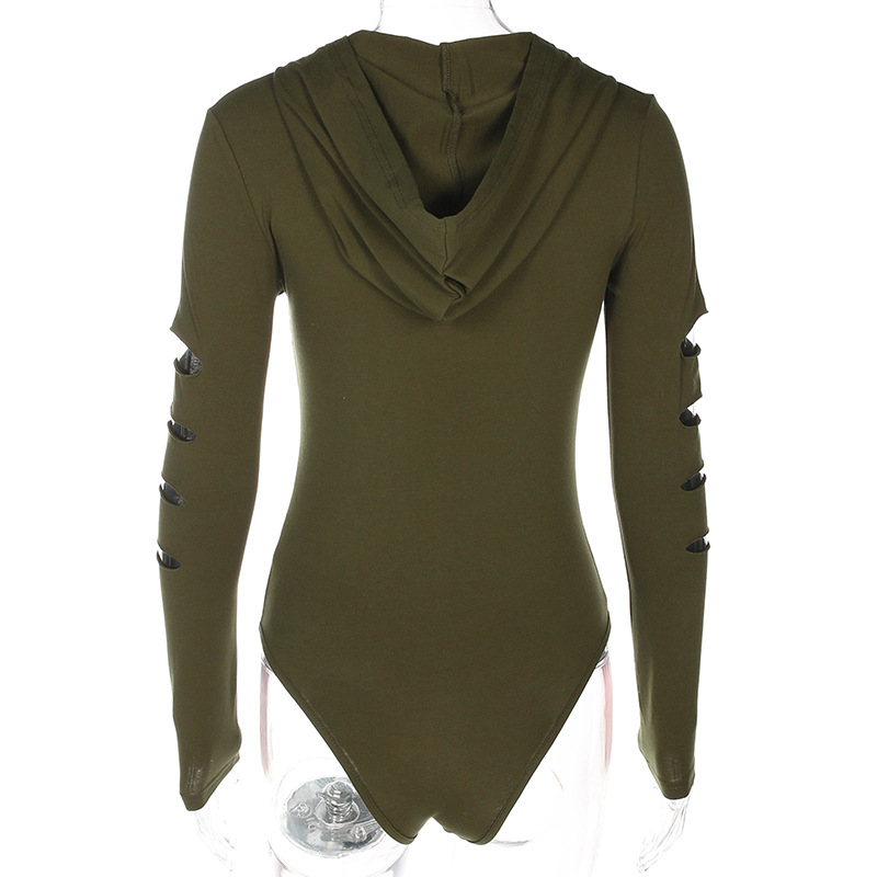Long sleeve T-shirt women's sense V-neck zipper hole hooded bodysuit