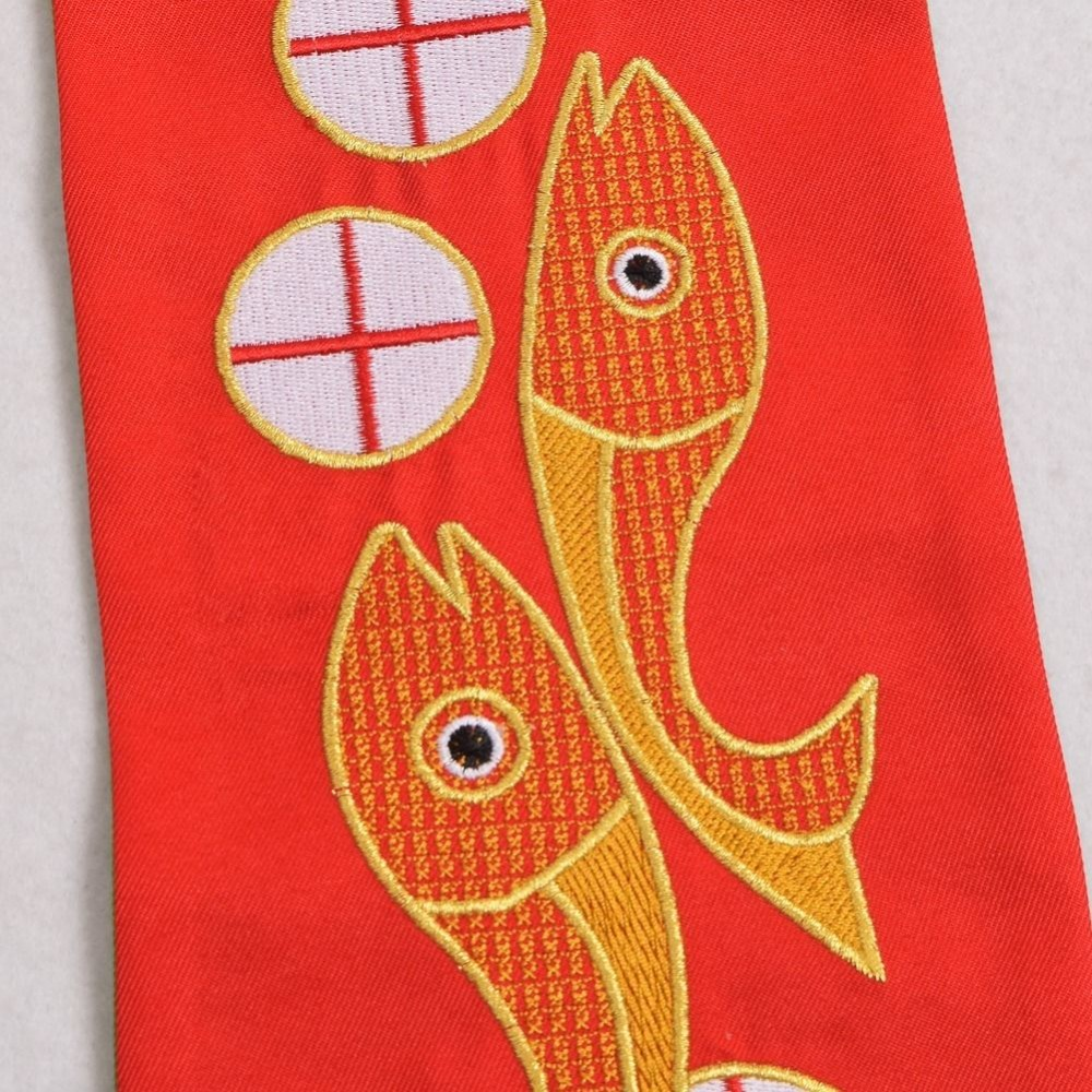 Holy Priest Reversible Stole Fish Cross Chalice Embroidery Church Vestments  Stole