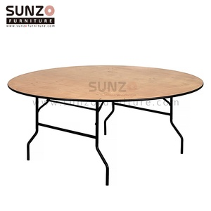 Folding round banquet table 8ft round trestle table outdoor plastic folding table