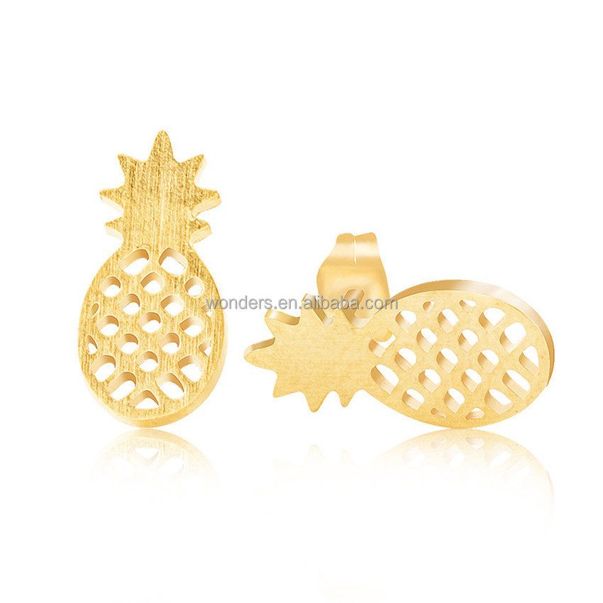 Cute fruit <strong>earrings</strong> rose gold plated stainless steel ear studs pineapple <strong>earring</strong> for girls