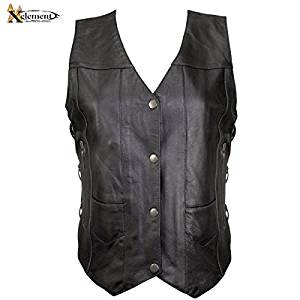 Xelement B26675 Womens Black 10 Pocket Cowhide Leather Motorcycle Vest - Medium