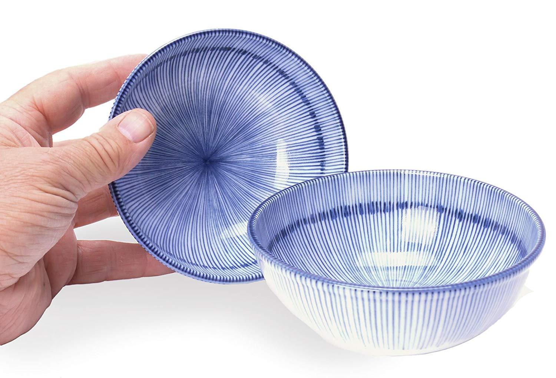 Set Of Two Floral Blue 4.75-Inch Spiceberry Home Porcelain Bowls