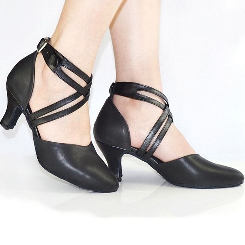 2015 Women Suede Latin Dance Shoes Modern Ballroom Salsa Dancing Shoes Closed Toe Ankle Strap Black Plus Size Adult Shoes Girls