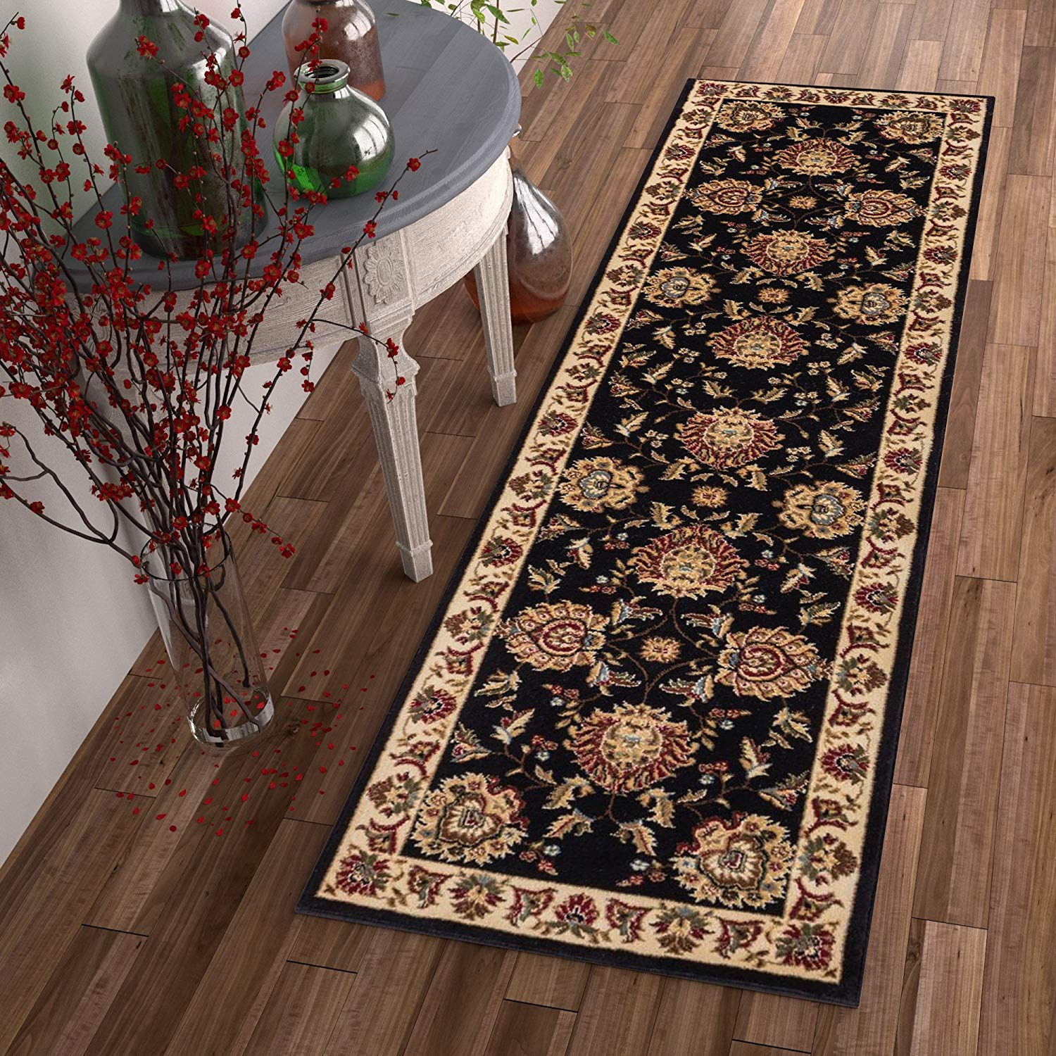 d16b6271b3b Get Quotations · 2 8 x 12  Black Beige Floral Pattern Runner Rug Rectangle