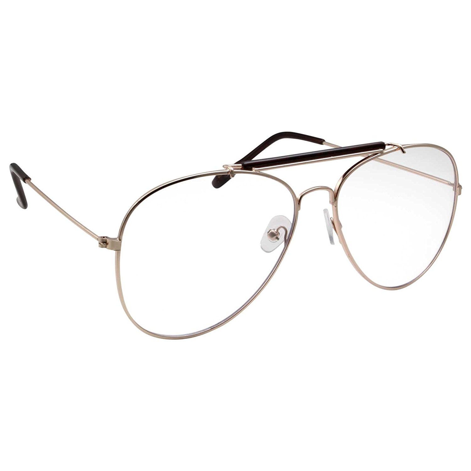07aff8f52a0 Get Quotations · Non-Prescription Bar-Top Aviator Clear Lens Glasses
