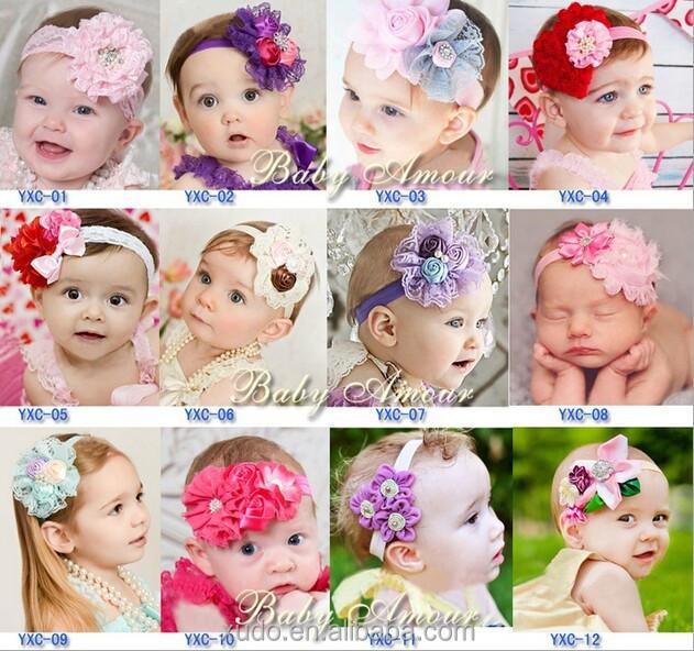 En stock 12 diseños de la cinta de rose flores flores bebé diadema de encaje elástico