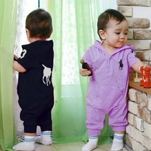 Retail 2015 Baby Polo Romper baby One Piece romper with hat Hooded short sleeve boy girl