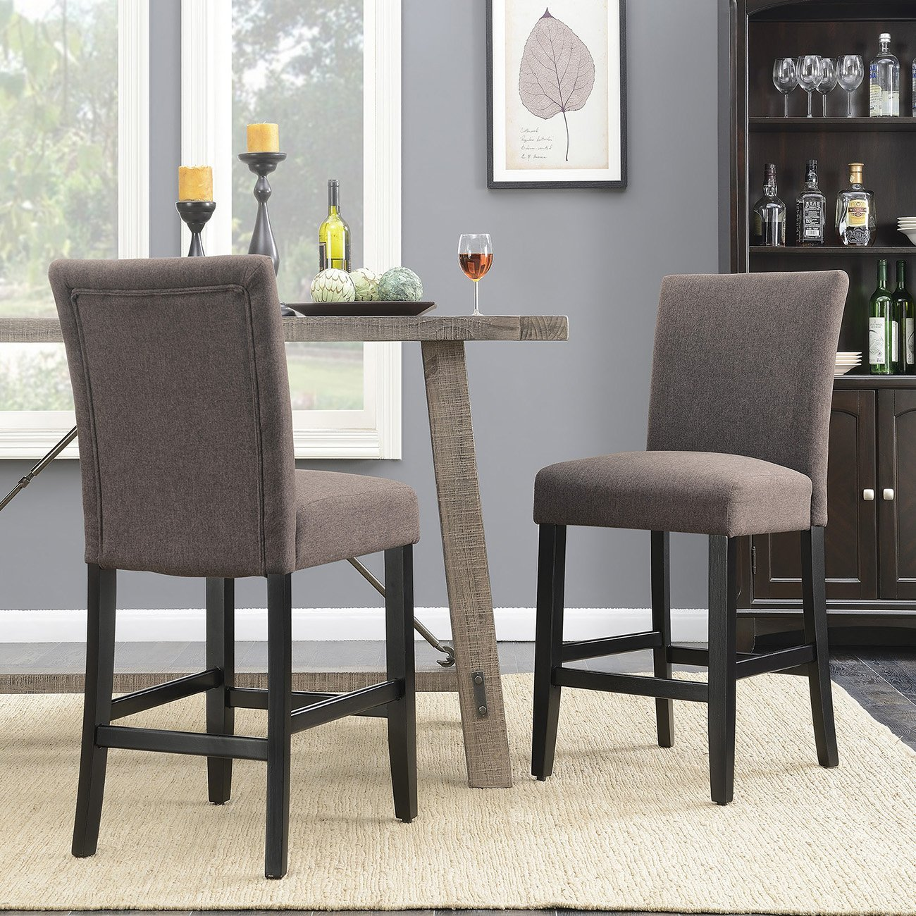 "Belleze 24"" Parson Chairs Dining Chair Kitchen Urban Style Counter Height with Wooden Legs Set of (2) - Dark Gray"