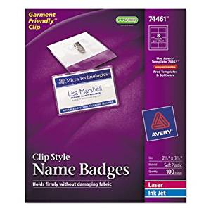 Badge Holder Kit w/Laser/Inkjet Insert, Top Load, 2 1/4 x 3 1/2, White, 100/BX, Sold as 100 Each