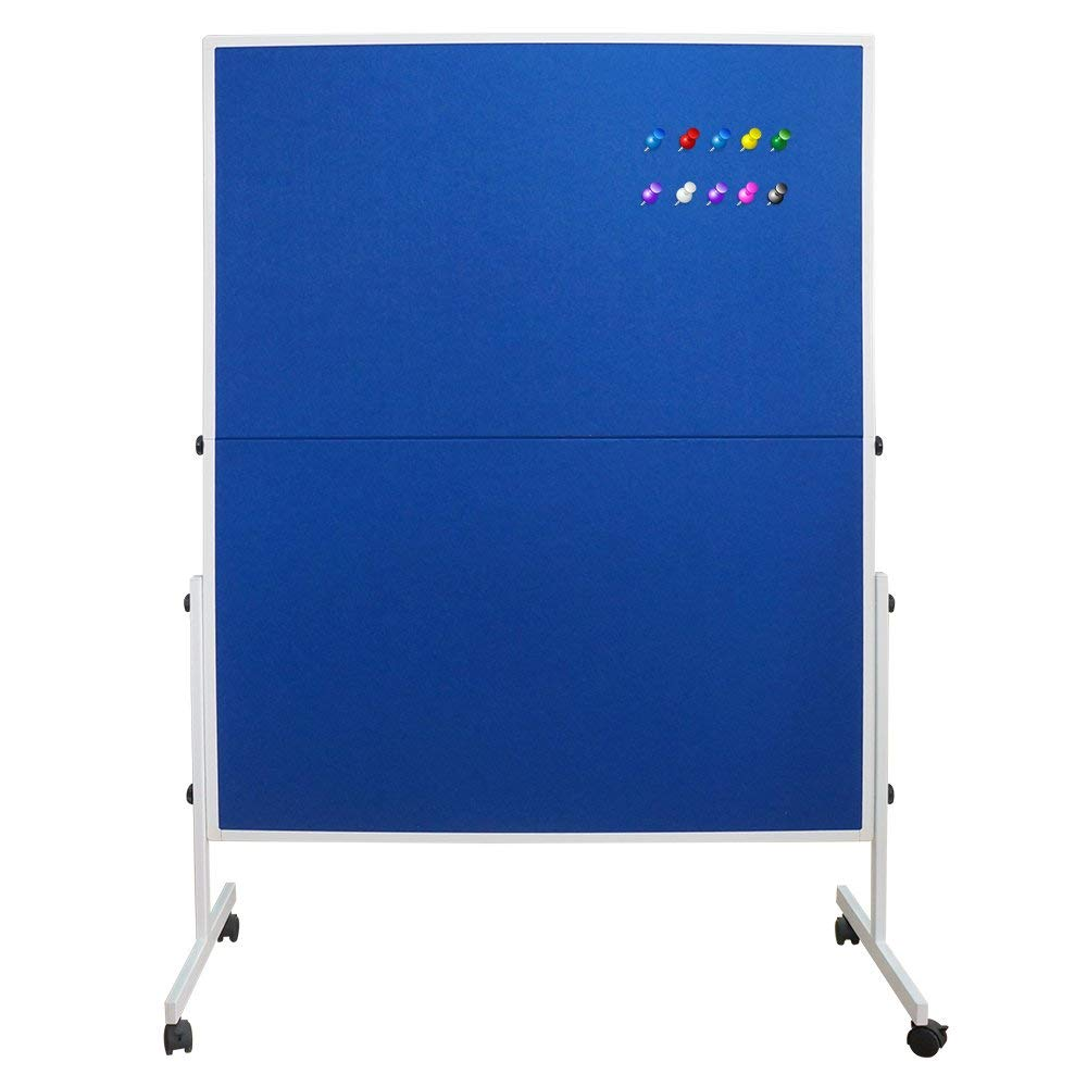 XIWODE Mobile Room Divider/Office Partition, Double Sided Bulletin Pin Fabric and Foldable Board, 60 x 48 Inches, 10 Colorful Push Pins Included for Display and Presentation