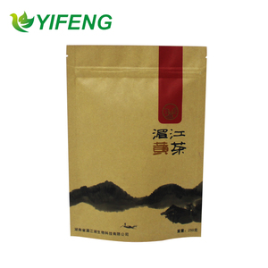 customized kraft paper stand up pouch / food grade waterproof bottom gusset heat sealing kraft paper food packing bag
